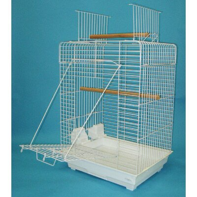 Open Play Top Small Parrot  Bird Cage Color: White
