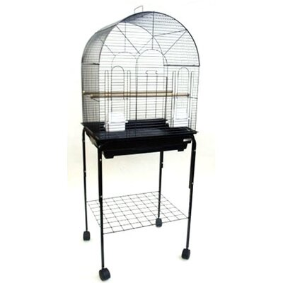 Round Top Small Bird Cage with Stand Color: Black