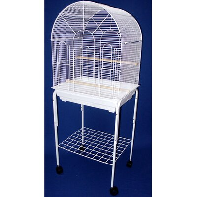 Round Top Small Bird Cage with Stand Color: White