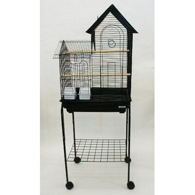 Villa Top Small Bird Cage with Stand and 2 Feeder Doors Color: Black
