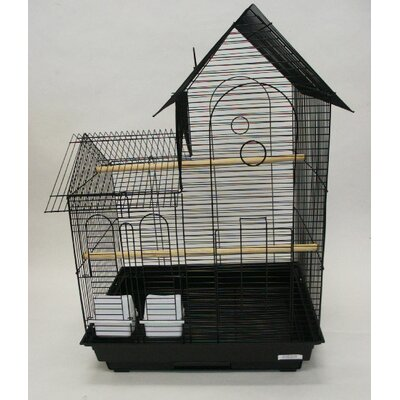 Villa Top Small  Bird Cage with 2 Feeder Doors Color: Black