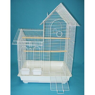 Villa Top Small  Bird Cage with 2 Feeder Doors Color: White