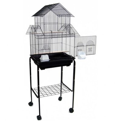 Holtzman Pagoda Small Bird Cage with Stand Color: Black