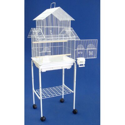 Pagoda Small Bird Cage with Stand Color: White