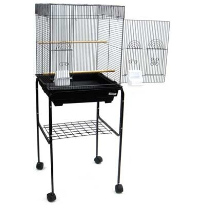 "YML Group 5924_4814BLK 5924 3/8"" Bar Spacing Flat Top Small Bird Cage With Stand - 18""x18"" In Black"