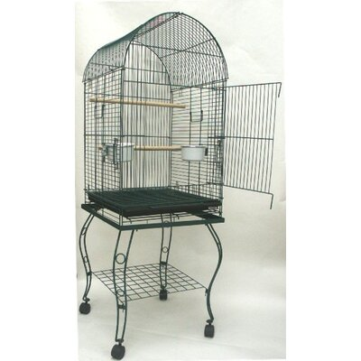 Dome Top Parrot Bird Cage with Stand Color: Green