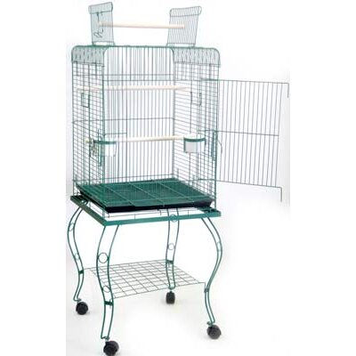Halbert Open Top Parrot Bird Cage with Stand Color: Green