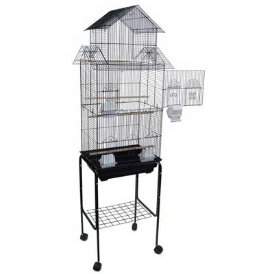 Pagoda Top Small Bird Cage with Stand Color: Black