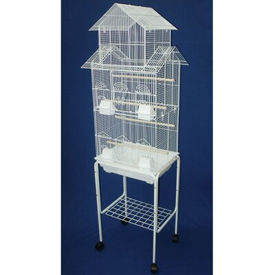 Pagoda Top Small Bird Cage with Stand Color: White