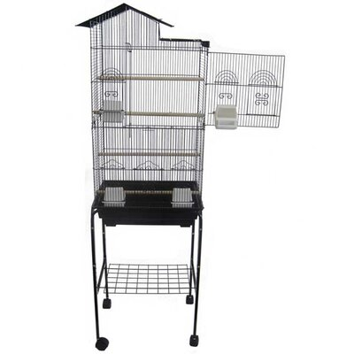 Villa Top Small Bird Cage with Stand and 4 Feeder Doors Color: Black