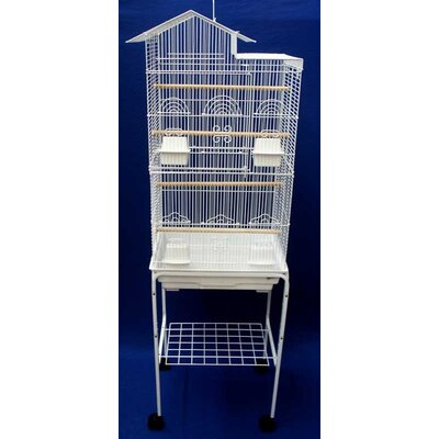 Ollis Villa Top Small Bird Cage with Stand and 4 Feeder Doors Color: White