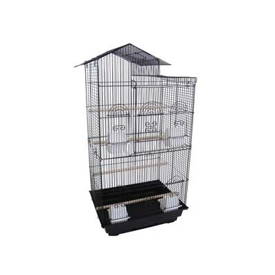 Villa Top Small  Bird Cage with 4 Feeder Doors Color: Black