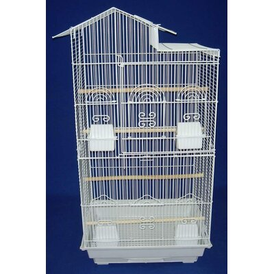 Villa Top Small  Bird Cage with 4 Feeder Doors Color: White
