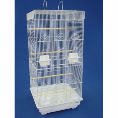 Tall Square Top Small Bird Cage Color: White