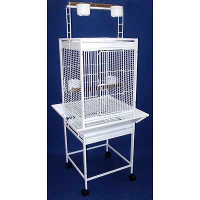 Play Top Parrot Bird Cage with 2 Feeder Doors Color: White