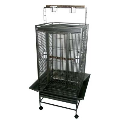Play Top Parrot Bird Cage with 3 Feeder doors Color: Antique Silver