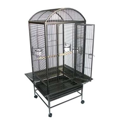 Narrow Dome Top Parrot Bird Cage Color: Antique Silver