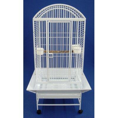 Narrow Dome Top Parrot Bird Cage Color: White