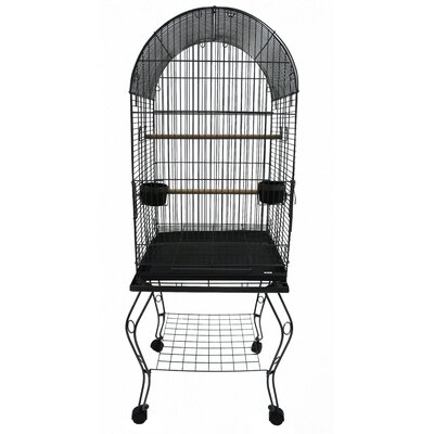 Dome Top Parrot Bird Cage with Stand Color: Antique Silver