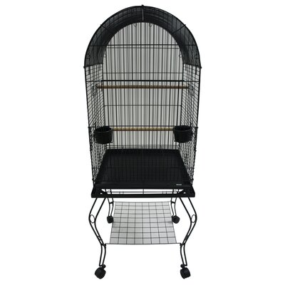 Dome Top Parrot Bird Cage with Stand Color: Black
