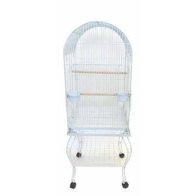 Dome Top Parrot Bird Cage with Stand Color: White