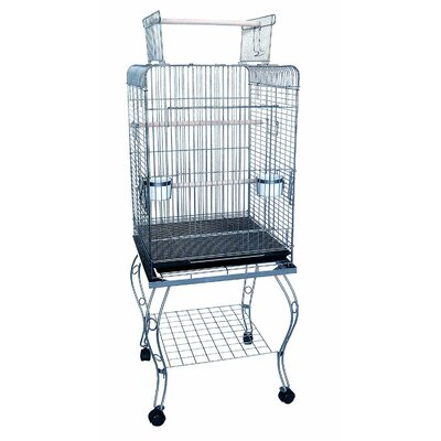 Open Top Parrot Bird Cage with Stand Color: Antique Silver