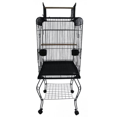 Open Top Parrot Bird Cage with Stand Color: Black