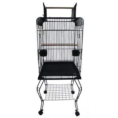 Halbert Open Top Parrot Bird Cage with Stand Color: Black
