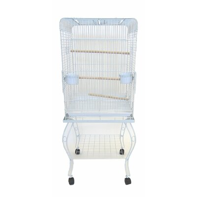 Open Top Parrot Bird Cage with Stand Color: White