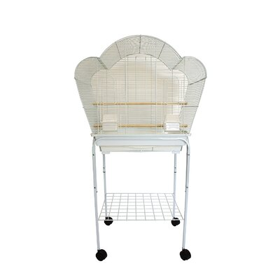 Shell Top Small Bird Cage with Stand Color: White