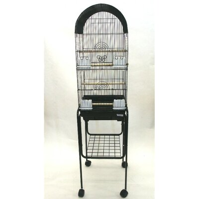 Tall Round 4 Perch Bird Cage with Stand Color: Black