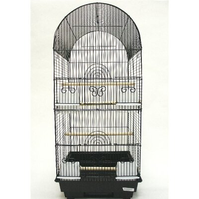 Tall Round 4 Perch  Bird Cage Color: Black