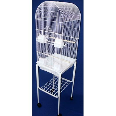 Omalley Tall Round 4 Perch Bird Cage with Stand Color: White
