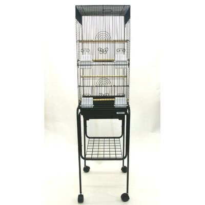 Tall Square 4 Perch Bird Cage with Stand Color: Black