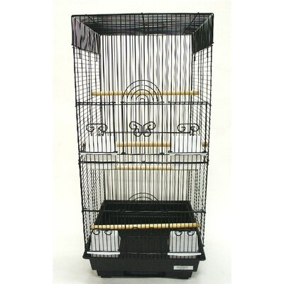 Tall Square 4 Perch  Bird Cage Color: Black