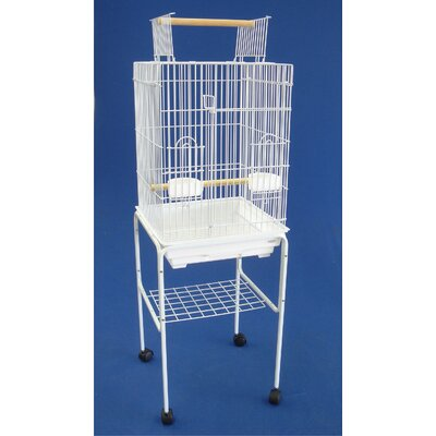 Open Top Small Parrot Bird Cage with Stand Color: White