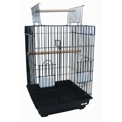Open Top Small Parrot Bird Cage with Stand Color: Black