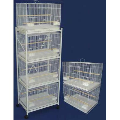 Six Small Bird Cage with 2 Feeder Doors Color: White