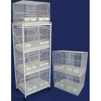 Six Small Bird Cage with 4 Feeder Doors Color: White