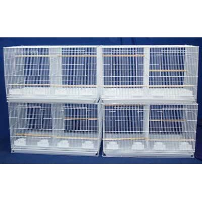 Lot of Four Medium Bird Cage with Divider Color: White