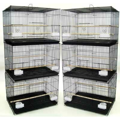 YML Group 6x2424BLK and 1x 4134BLK Lot of 6 Small Breeding Cages with One 4 Tie Stand - Black