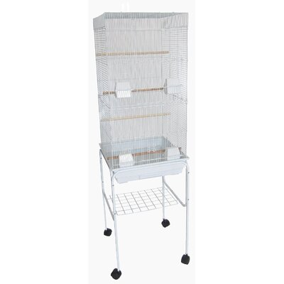 Bar Spacing Tall Flat Top Bird Cage with Stand Color: White