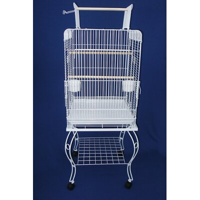 Play Top Parrot Bird Cage with Stand Color: White