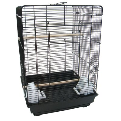 Flat Top Bird Cage Color: Black