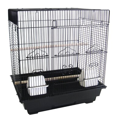 Square Flat Top Small  Bird Cage Color: Black