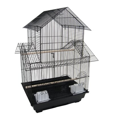 Double Roofs  Bird Cage Color: Black