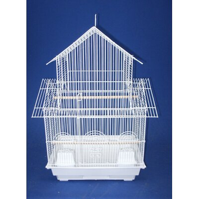 Double Roofs  Bird Cage Color: White
