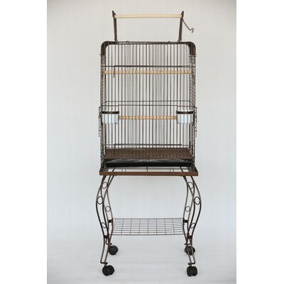 Open Top Parrot Bird Cage with Stand Color: Antique Copper