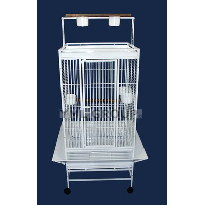 Play Top Parrot Bird Cage with 3 Feeder doors Color: White