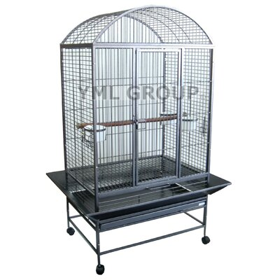 Wide Dome Top Parrot Bird Cage Color: Antique Silver